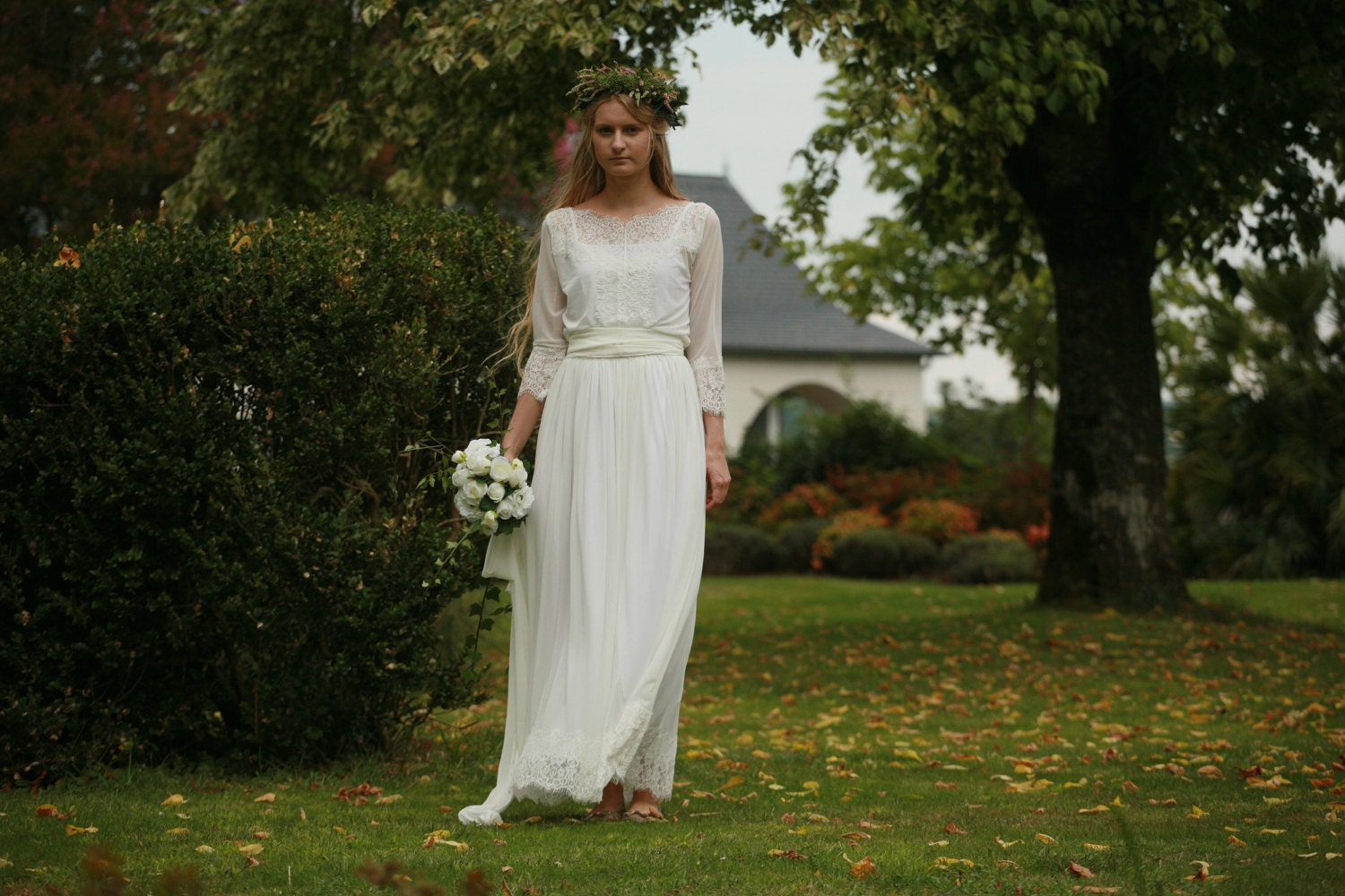 Simple Wedding Dress Lace Sleeves: Off White Lace And Tulle Bridal Gown Simple Boho Wedding
