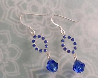 Sapphire Blue Crystal Drop Sterling Silver Earrings EAS2086
