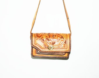 Vintage 60s Mexican Hand Tooled Floral Leather Bag