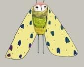 Moth. art print - wall decor - illustration print - wall art - home decor - drawing - digital prints - kids decor - children wall art.