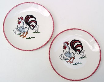 Vintage Rooster Plates, Rooster Wall Hanging, Hand Painted Plates, Small Plates, Country Kitchen, Set of 2