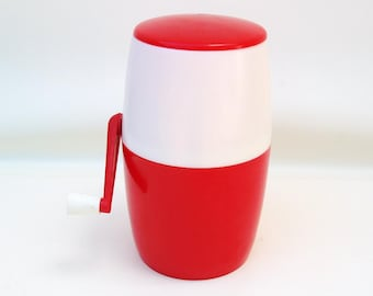 Vintage Red White Ice Shaver Hand Crank Ice Crusher Plastic Ice Bucket Retro Barware