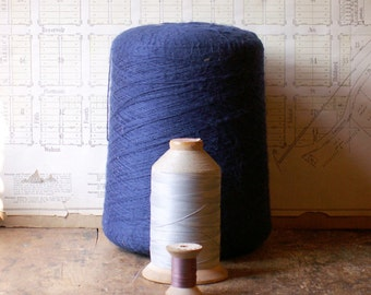 Extra Large Spool of Vintage Indigo Blue Yarn - Great Craft Room Decor!