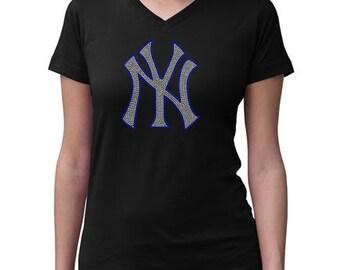 CHILD or ADULT SIZE  New York Yankees Bling Crystal Rhinestone Shirt