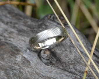 14k palladium white gold and sterling wood grain mokume gane wedding band