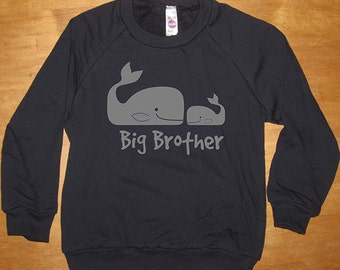 Big Brother Shirt - Sweatshirt - Big Brother Whale & Little Brother Whale - Long Sleeved Navy Blue - Fleece Sweater- Gift Friendly