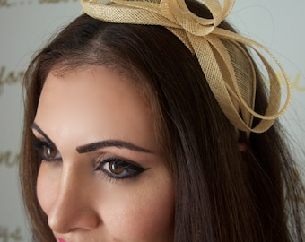 Mini Champagne Gold Fascinator - Flitter-by Mesh Fascinator Headband