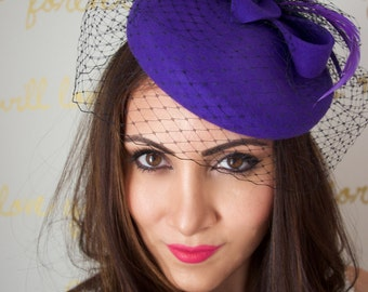 Wool Winter Hat - Purple Wool Fascinator with Black Birdcage & Purple Feathers