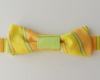 70s Pastel Stripe Adjustable Bow Tie in Yellow, Orange, Lime