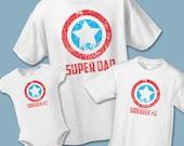 Super Dad and Sidekick Matching Shirts - Father Son Matching Shirts - Create Superhero Sets of 2, 3, 4, 5, 6, 7 - Father Daughter Shirts