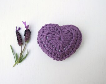 purple lavender crochet heart with a choice of  lavender