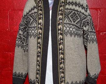 Brown zip up wool Nordic sweater L