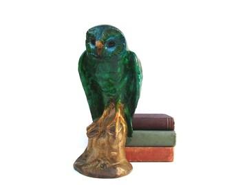 Vintage Owl Mid century Modern Art Pottery Large Ceramic Barn Owl Statue Teal & Aqua Drip Glaze Chalkware Owl Figurine