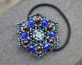 Sparkly Metallic Flower Beaded Ponytail Holder, Boho Hair Accessories, Bead Hair Ties, Chic Beaded Hair Band, Fashion Accessory