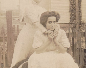 Elsie and Maggie- 1900s Antique Photograph- Best Friends- Holding Hands- Edwardian Women- Real Photo Postcard- AZO RPPC- Paper Ephemera