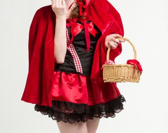 Little Red Riding Hood Hooded Red Velvet Cape- Red Cape - Velvet Cape - Red Velvet Cape- Halloween