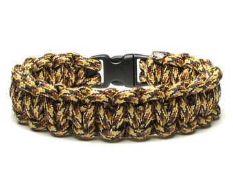 Paracord Bracelet Kitty Shades Of Natural Tan Gold Brown Survival Gift Accessory Neutral Beige Parachute Cord Camping Hiking Hunting Nature