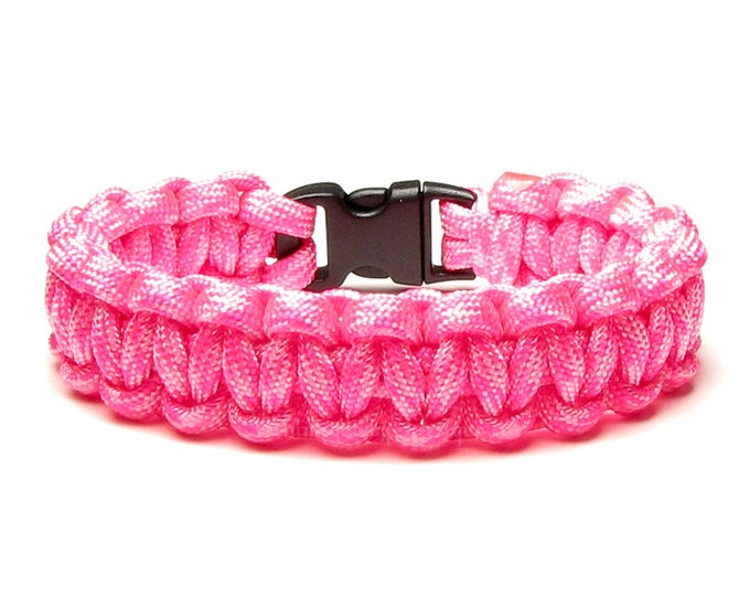 Paracord Bracelet Valentine Hot Pink Accessory Gift For Women Woven Cord Jewelry Bright Cherry Color Vacation Fun Outdoor Activities Camping