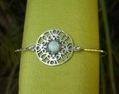 Sterling Silver Opal Bracelet - Sterling Silver Opal Bangle - Silver Opal Bracelet - Opal Bracelet - Opal Bangle - White Opal Bracelet