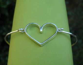 Bracelet - Bangle - Silver Bracelet - Silver Bangle - Sterling Silver Bangle Bracelet - Heart - Love