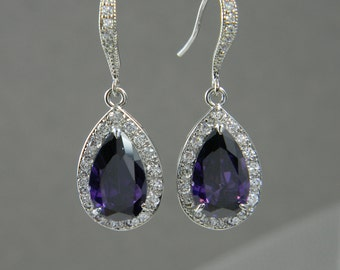 Crystal Bridal earrings  Wedding jewelry, Swarovski, Crystal Wedding earrings, Bridal Jewelry SET,  Ariel Purple Drop Earrings