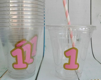 Set of 24- Pink and Gold 1st, 2nd, or 3rd Party Cups, Lids & Straws