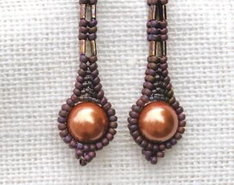 Raspberry & Copper Earrings - Beaded Long Pearl - Drop Style - Matte Earrings - Everyday Wear - Handmade Beadwork - Unique