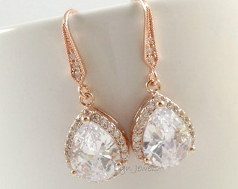 Rose Gold Earrings // Cubic Zirconia Bridesmaids Earrings // Rose Gold Wedding Teardrop Earrings
