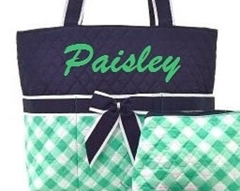 Mint Green Gingham Navy Monogrammed Quilted Diaper Bag Set