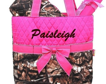 Personalized Camo Hot Pink Diaper Bag 3pc Set