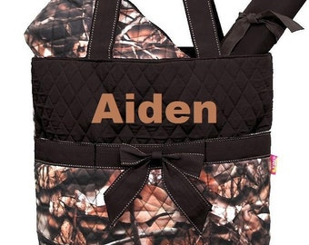 Personalized Brown Camouflage Diaper Bag 3pc Set