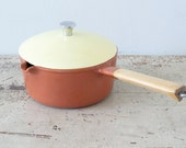 Yellow and Brown Lidded L'ISLET Pot Enamel Cast Iron Cookware