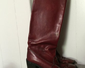 Etienne Aigner Vintage Maroon Heeled Boots Size 8