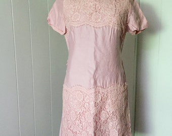 Pink Lace and Linen 50s Vintage Wiggle Dress Formal Womens