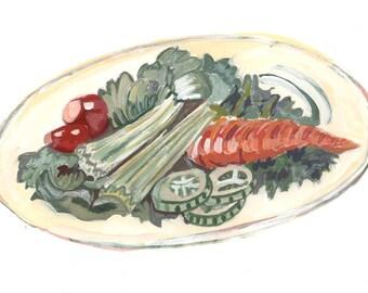 Veggies Food Art Cookbook Art Gouache Watercolor Illustration Original Art Diner  Eat your vegetables