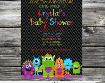 12 Printed Invitations By Serendipity Celebrations -Monster -Birthday -Baby Shower -Printing Service