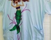 Mermaid Hand Painted Plus-size CoverUp or Sleepshirt