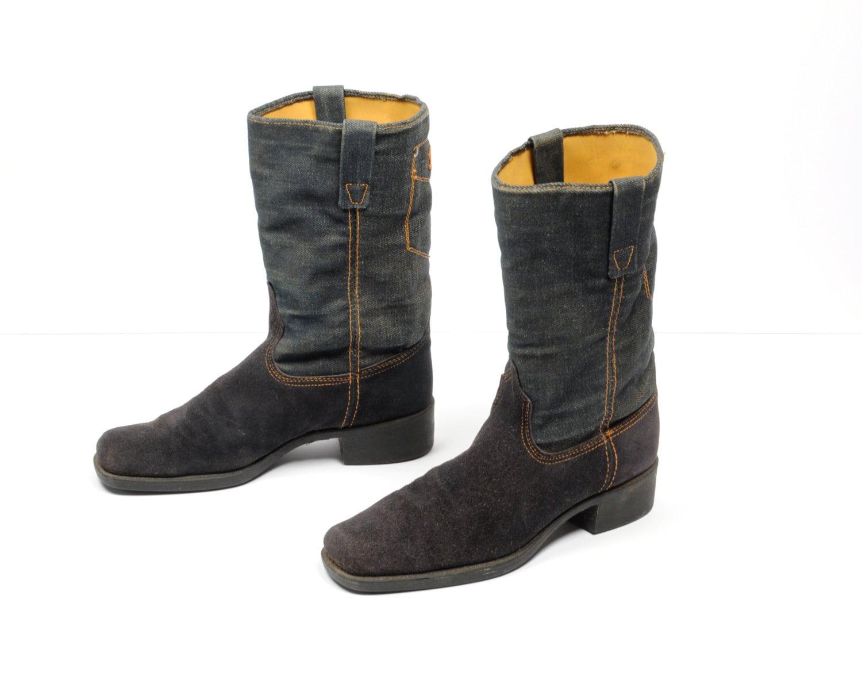 vintage blue suede boots denim boots western cowboy boots