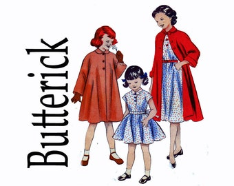1950s Little Girls Size 6 Dress & Coat Ensemble Breast 24 50s Vintage Sewing Pattern Butterick 6557 Quick and Easy pattern
