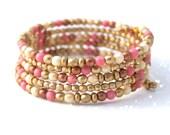 VALENTINE BRACELET, PINK and Gold Bracelet, Valentine Gift for Girlfriend, Valentine Gift for Wife, Valentine Gift for Wife, Bangle Wrap