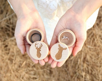 Buck and Doe Ring Box Set Rustic Wood Ring Box Keepsake Ring Box Camo Wedding Ring Box Photo Prop