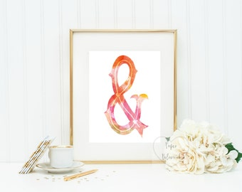 Watercolor letter, number, ampersand . Printable art frameable wall decor. Nursery decor