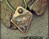 Native Michigan Copper Cabochons on Copper Pendant with Leather Cord Perfect for Fall - OOAK