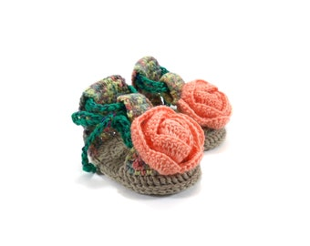 Crochet Baby Sandals with Flower - Light Green, Yellow and Pink,  0 ~ 3 months