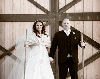 Rustic Wedding/Bridal Cape/Wedding Shawl/Wedding Cape/Country Wedding/Bridal Bolero/Bridal Shawl/Shawl/Ivory Shawl/Rustic Shawl/Wrap