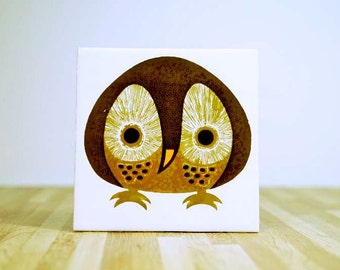 Vintage Ceramic Kenneth Townsend Menagerie Collection Owl Tile