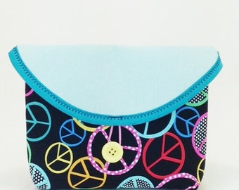 Light Aqua and Black Peace Sign Bicycle Handlebar Bag
