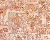 Vintage 1970's Peach Art Nouveau Print Fabric