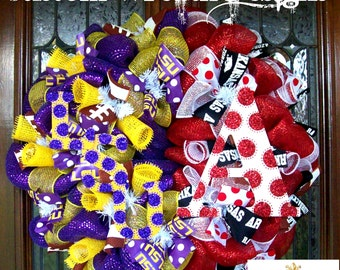 Deco Mesh LSU and Arkansas House Divided Wreath