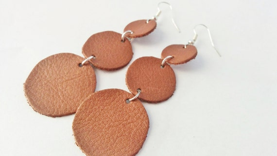 Leather earrings, brown earrings, circle earrings, leather jewelry, leather dangle, dangle earrings, dangle owl, drop earrings, dangle brown
